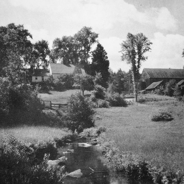 The Buroughs-Hebb-McClintock farm, located in Newbury, Vermont, from a photo taken in the 1940s.