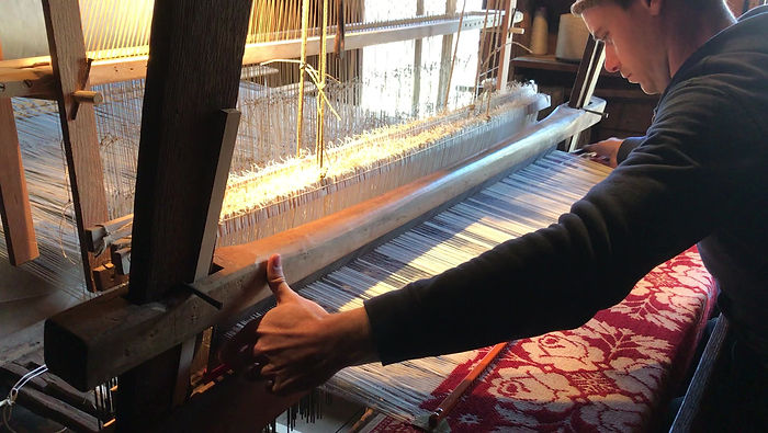 Weaving figured coverlets with a jacquard and 18th century loom.