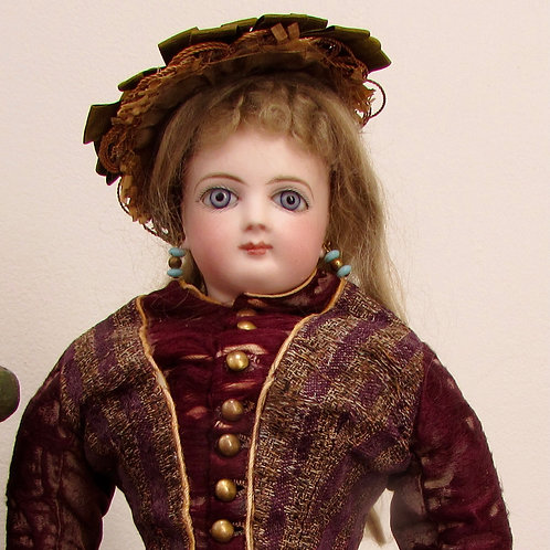 """16"""" French Bisque Poupee by Jumeau in Original Couturier Costume"""