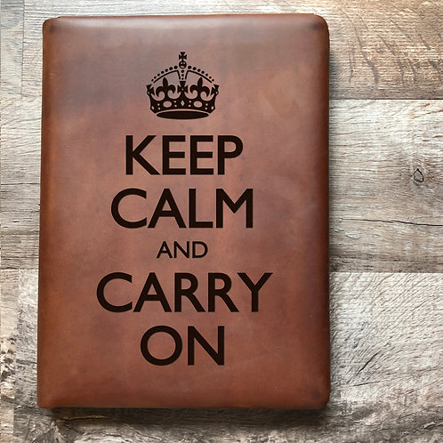 Keep Calm And Carry On Executive Cut - Refillable Leather Folio