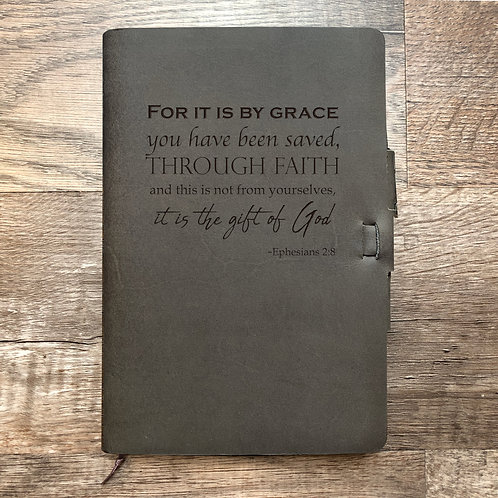 Ephesians 2:8 - Refillable Leather Journal