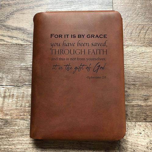 Ephesians 2:8 - Travel Cut - Refillable Leather Folio