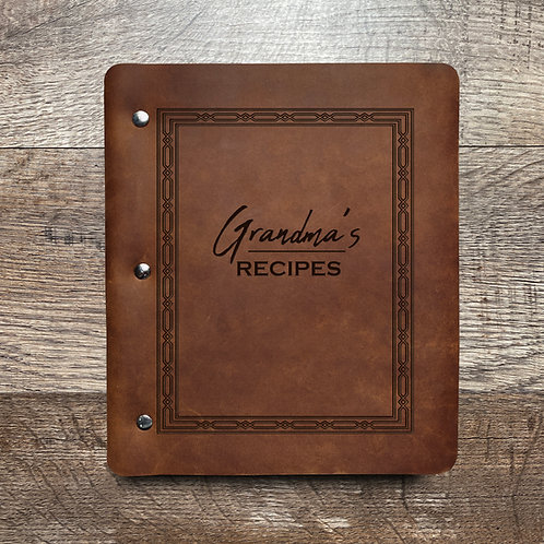 Custom Name Recipe Wide Cut - Refillable Leather Binder