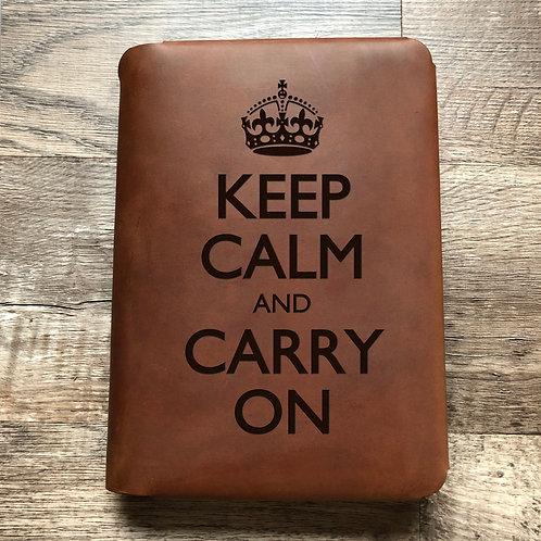 Keep Calm And Carry On Travel Cut - Refillable Leather Folio