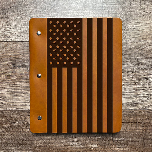 American Flag - Large - Refillable Leather Binder