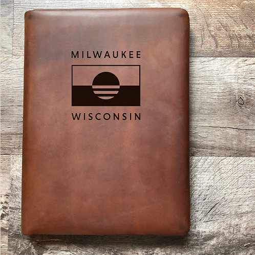 People's Flag of Milwaukee - Executive Cut - Refillable Leather Folio
