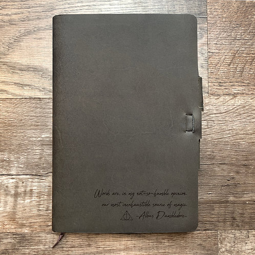 Dumbledore - Handwriting - Refillable Leather Journal
