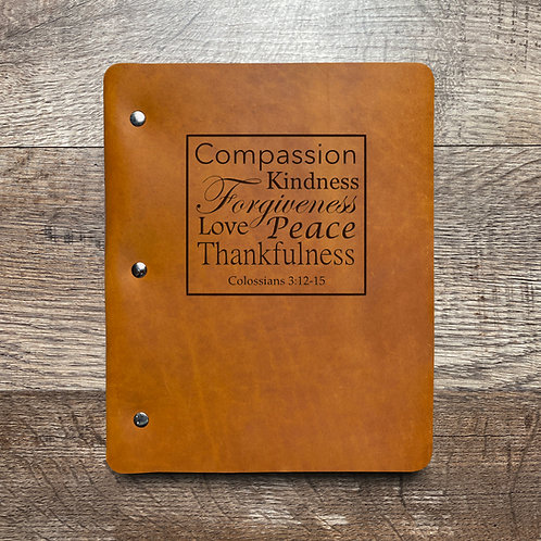 Colossians 3:12-15 - Refillable Leather Binder