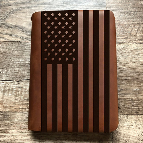 American Flag - Large - Travel Cut - Refillable Leather Folio