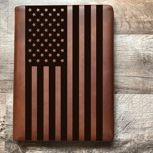 American Flag - Large - Executive Cut - Refillable Leather Folio