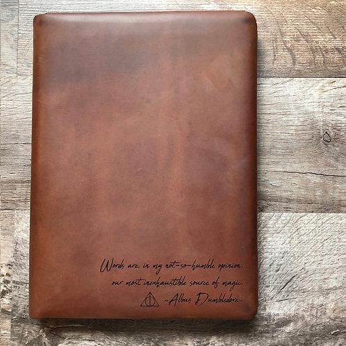 Dumbledore - Handwriting - Executive Cut - Refillable Leather Folio