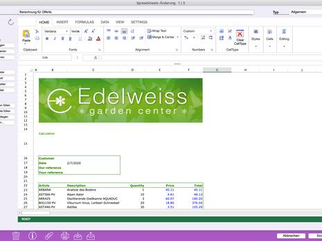 Neue Tabellenkalkulation in Office Maker 7