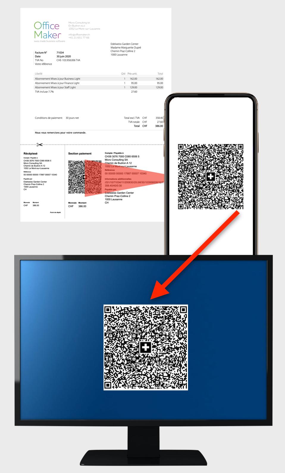 Übertragung eines QR-Codes nach einem Computer