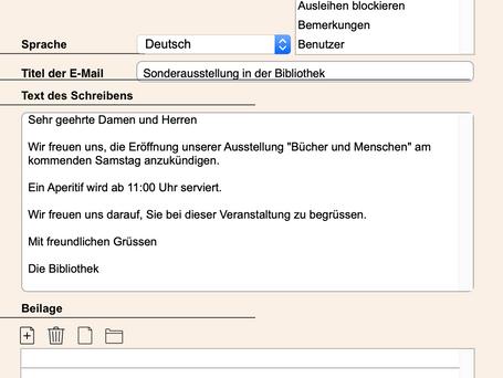 Versenden eines E-Mail-Mailings mit BiblioMaker