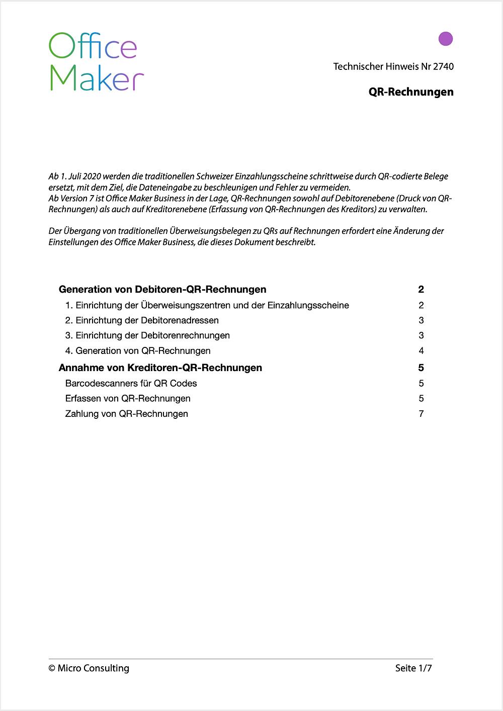 Technischer Hinweis QR-Rechnungen