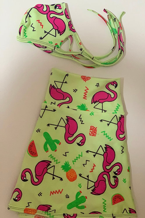 Kids Skorts +Mask Set - (Pink Flamingo)