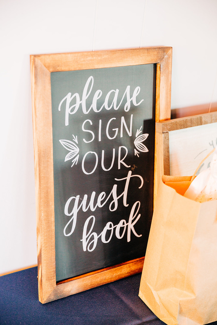 FRECKLES + INK // PHOTO BY:  Ivy Bee Weddings // chalkboard // guestbook sign // chalk lettering // wedding