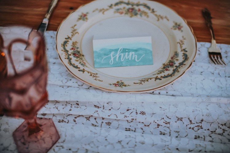FRECKLES + INK // PHOTO BY:  Ashley Schulze Photography // blue ridge wedding, boho chic wedding, jewel tone, teal, place card, calligraphy, watercolor place card