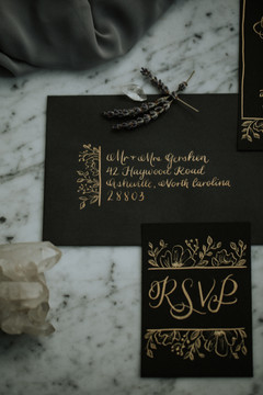 FRECKLES + INK // PHOTO BY:  Gabrielle von Heyking Photographie // gold calligraphy, invitation suite, hand illustrated floral, handwritten stationery, handdrawn invitations, moody, black invitation, crystals, witchy wedding
