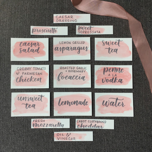 FRECKLES + INK // catering cards, watercolor, custom menu signs, peach and grey wedding, watercolor place cards
