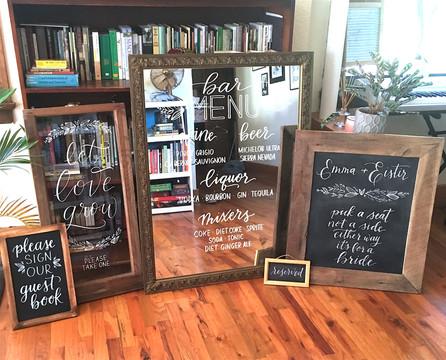 FRECKLES + INK // signage set, lettering suite, bar menu, ceremony, guestbook sign, let love grow, lesbian wedding, lgbtq+ wedding