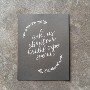 FRECKLES + INK // calligraphy, white lettering, B2B, business-to-business, local biz, wedding expo, slate paper