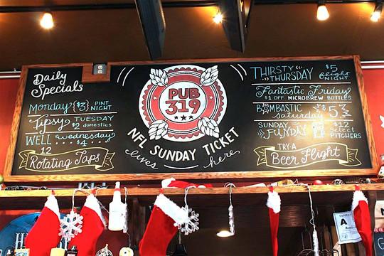 FRECKLES + INK // chalkboard lettering, bar menu, specials sign, B2B, business-to-business, local biz, chalkboard, sports bar sign, chalk art