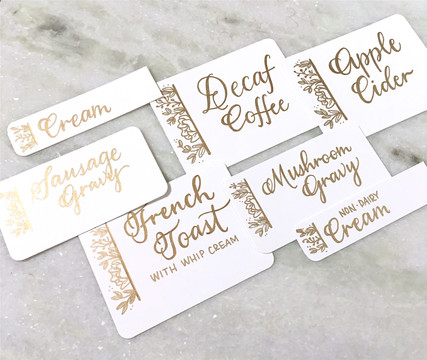 FRECKLES + INK // calligraphy, catering signs, gold lettering, B2B, business-to-business, local biz, brunch menu, hand-drawn florals