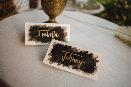 FRECKLES + INK // PHOTO BY:  Ashley Schulze Photography // calligraphy, edgy wedding, black and gold wedding, black and red wedding, black watercolor, gold calligraphy, escort cards, place cards, sweetheart table, modern calligraphy