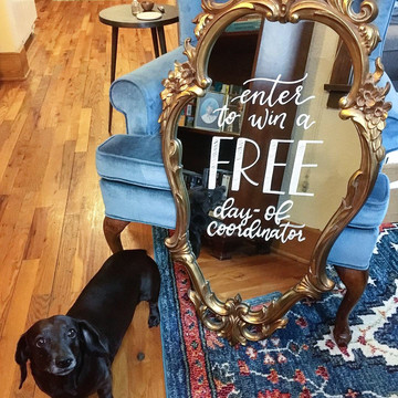 FRECKLES + INK // mirror lettering, ornate mirror, B2B, business-to-business, local biz, freehand