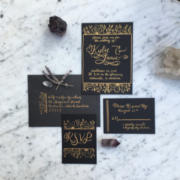FRECKLES + INK // gold calligraphy, invitation suite, hand illustrated floral, handwritten stationery, handdrawn invitations, moody, black invitation, crystals, witchy wedding