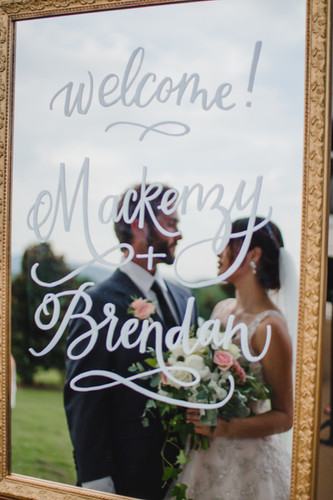 FRECKLES + INK // PHOTO BY:  Ashley Schulze Photography // mirror calligraphy, welcome sign, wedding, mountain wedding, glam