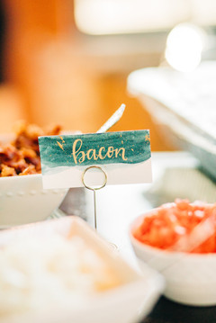 FRECKLES + INK // PHOTO BY:  Ivy Bee Weddings // food sign, watercolor sign, gold calligraphy, hand lettering, teal and gold, bacon