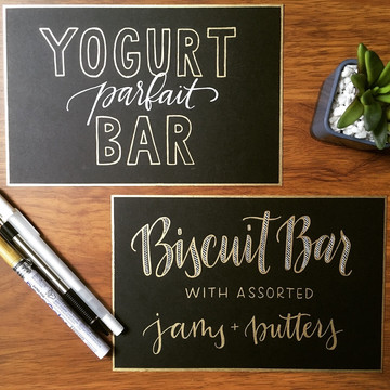 FRECKLES + INK // calligraphy, catering signs, gold lettering, B2B, business-to-business, local biz, brunch menu