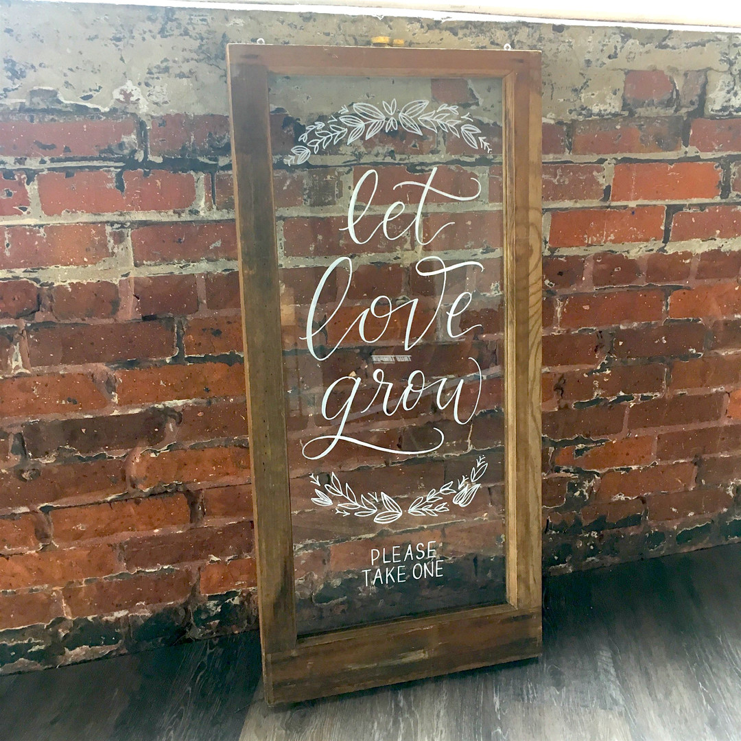 FRECKLES + INK // window calligraphy, let love grow, industrial wedding, window art