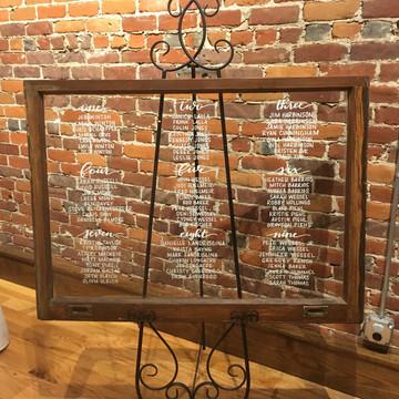 FRECKLES + INK // seating chart, escort sign, window calligraphy, industrial wedding, historic wedding
