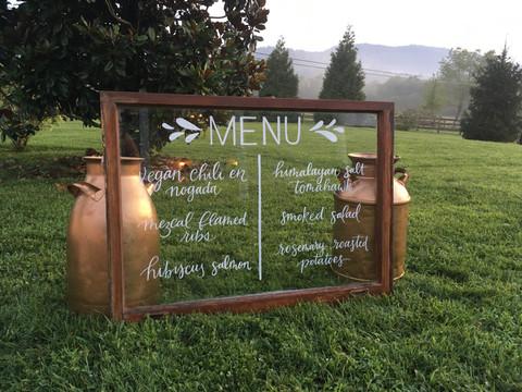 FRECKLES + INK // window calligraphy // menu sign // outdoor wedding // mountain wedding