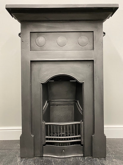 Original Antique Art Nouveau Bedroom Combination Grate Cast Iron Fireplace