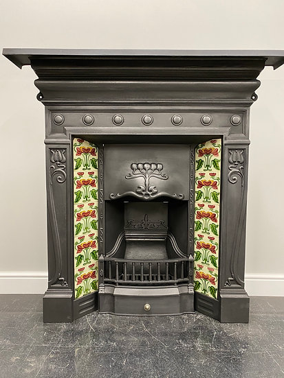 Large Original Antique Art Nouveau Tiled Cast Iron Combination Grate Fireplace