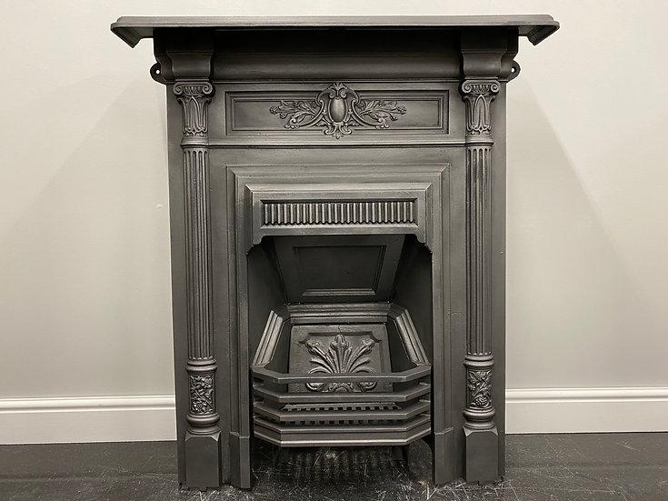 Original Antique Art Nouveau Bedroom Combination Grate  Cast Iron Fireplace
