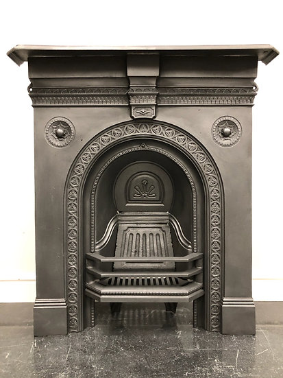 Original Antique Victorian Bedroom Cast Iron Combination Grate Fireplace