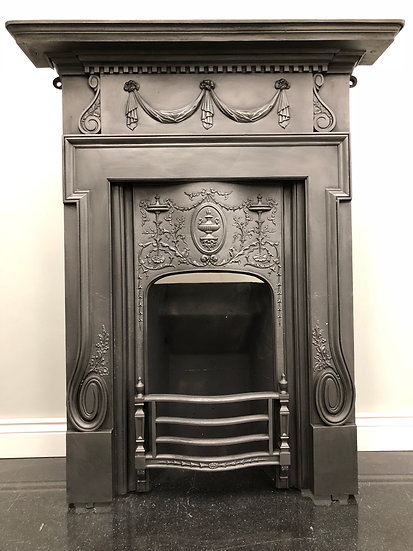 Original Antique Victorian Combination Grate Cast Iron Fireplace