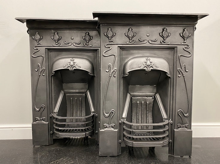 Original Antique Matching Pair Bedroom Art Nouveau Combination Grate Fireplaces