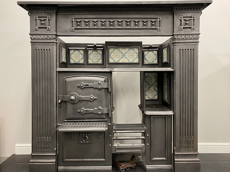 Original Victorian Tiled Antique Cast Iron Kitchen Cooking Range and Surround