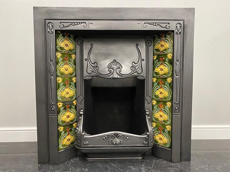 Original Antique Art Nouveau Cast Iron Tiled Fireplace Fire Insert Fireplace