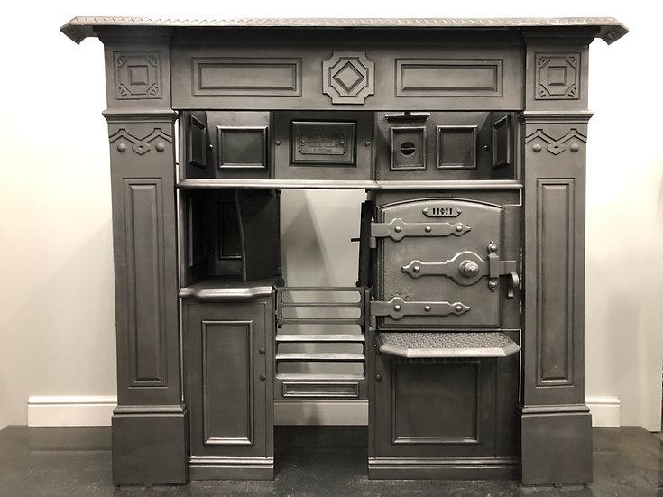 Original Victorian Antique Cast Iron Kitchen Cooking Range and Surround