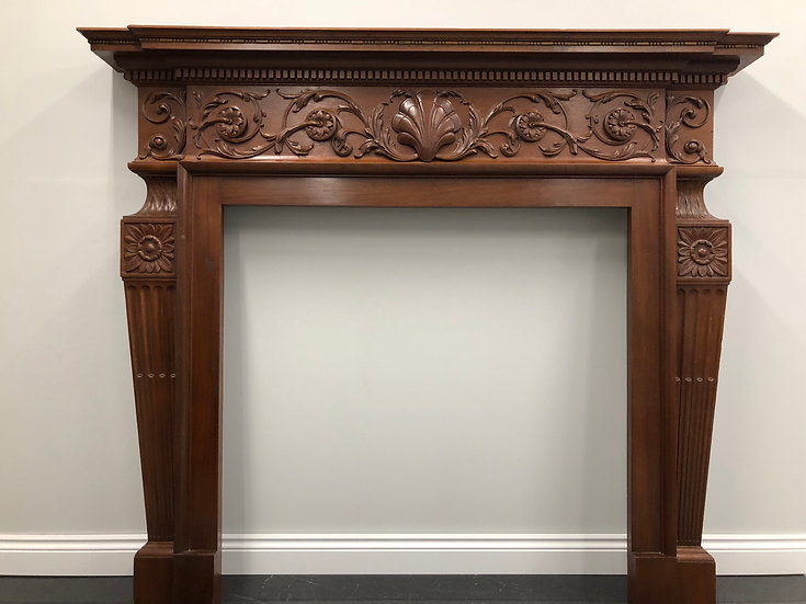 Restored Original Antique Arts and Crafts Mahogany Wood Fireplace Fire Surround