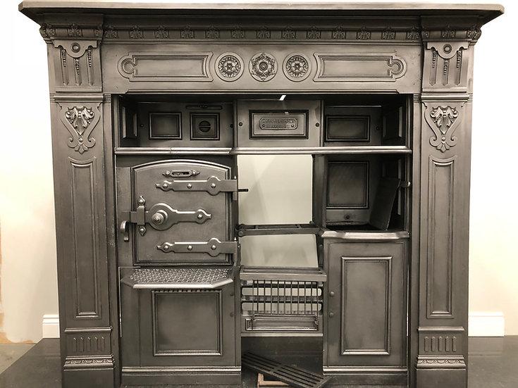 Restored Original Victorian Antique Cast Iron Kitchen Cooking Range and Surround