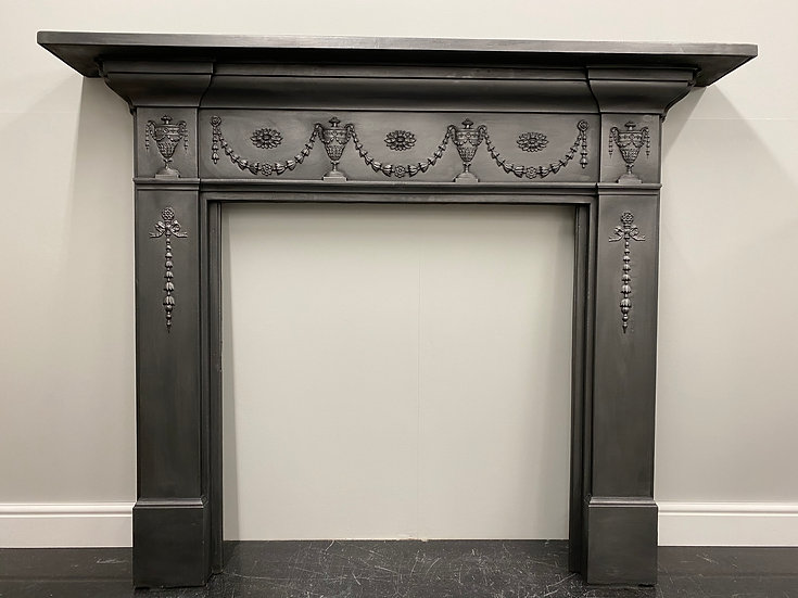 Original Antique Victorian Cast Iron Fireplace Fire Surround