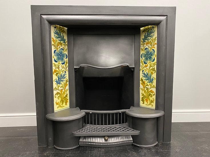 Original Antique Edwardian Cast Iron Tiled Insert Fireplace